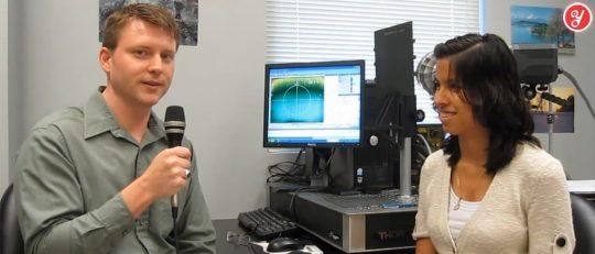 Aida Yoguely interviews a materials engineer at the NASA Goddard Space Flight Center.