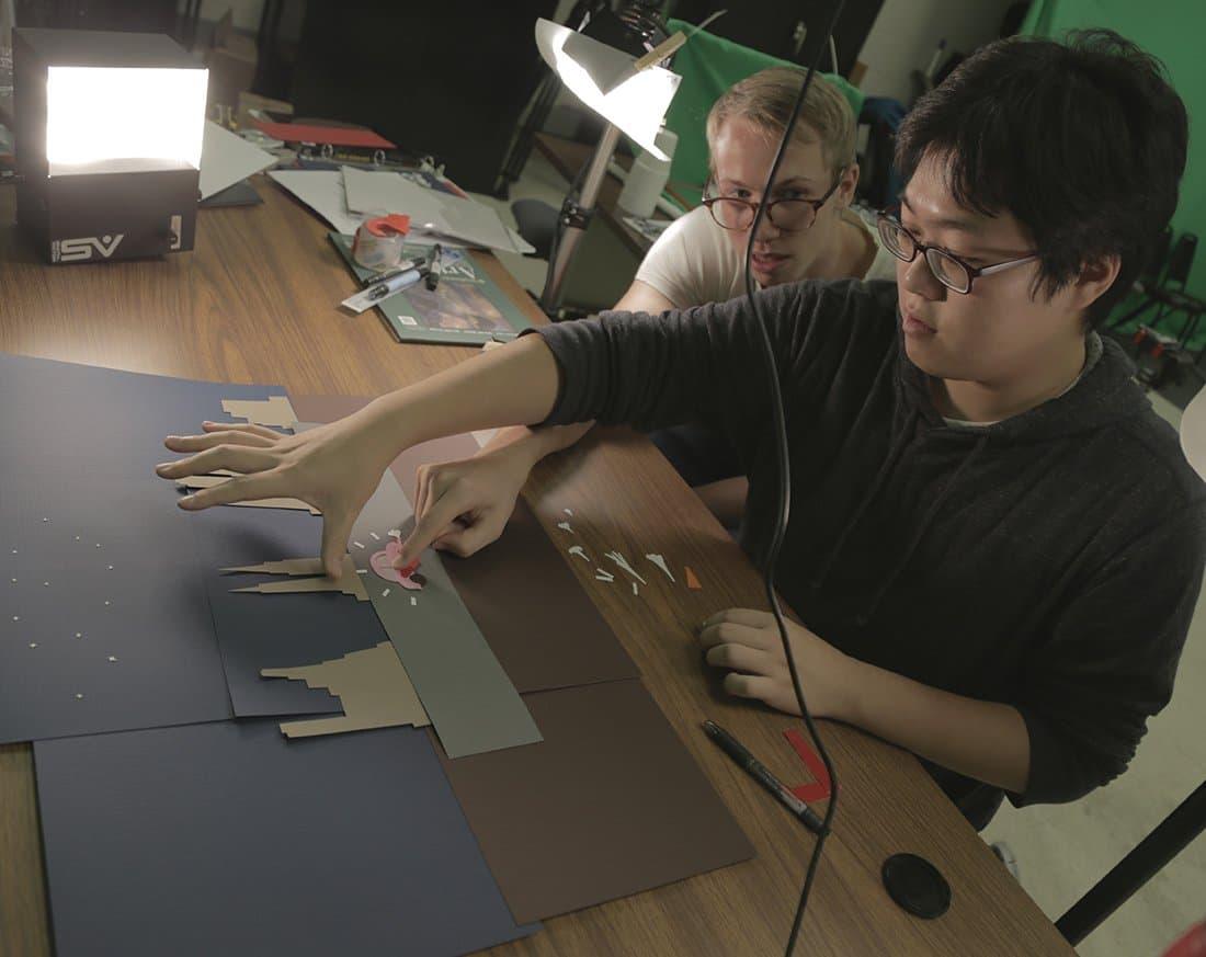Thomas and Karl filming stop motion animation.