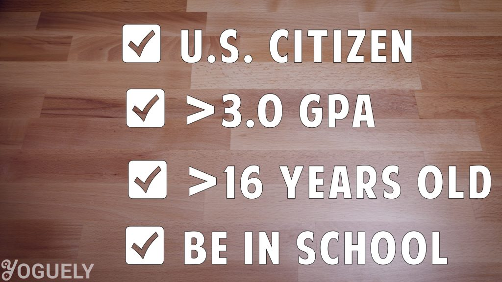 Basic requirements for eligibility for a paid NASA high school internship. Student must be enrolled in school. Be a U.S. citizen. Have a GPA greater than 3.0. Be at least 16 years old.