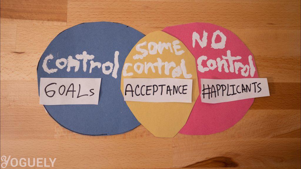 Cosas sobre las que tienes control: Objetivos. Cosas sobre las que no tiene control: número de solicitantes. Cosas que tienes cierto control pero no control completo: tu aceptación en el programa. Maximice sus posibilidades de ser aceptado haciendo su mejor esfuerzo en la variable sobre la que tiene control: su aplicación.