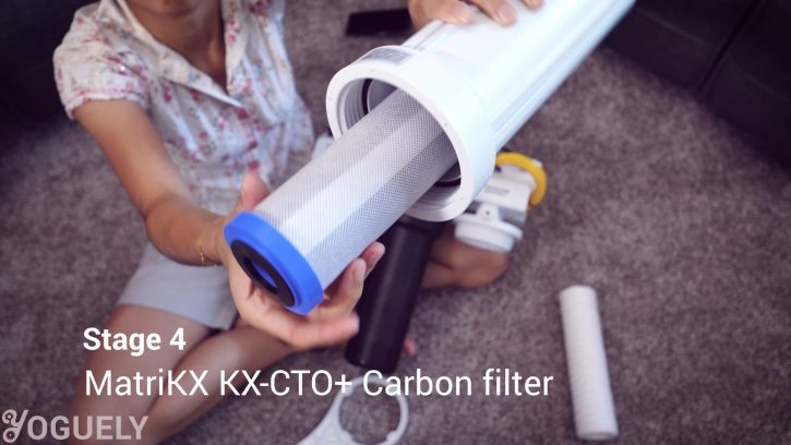 The fourth stage is a postfilter containing a MatriKX KX-CTO+ carbon block post-filter, which requires annual replacement.