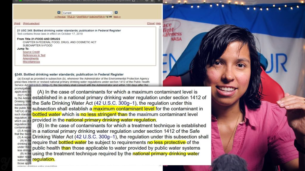 """Yoguely discusses law 21 USC 349. Quote """"... Shall establish a maximum contaminant level for the contaminant in bottled water whic is no less stringent than the maximum contaminant level provided in the national primary drinking water regulation."""""""