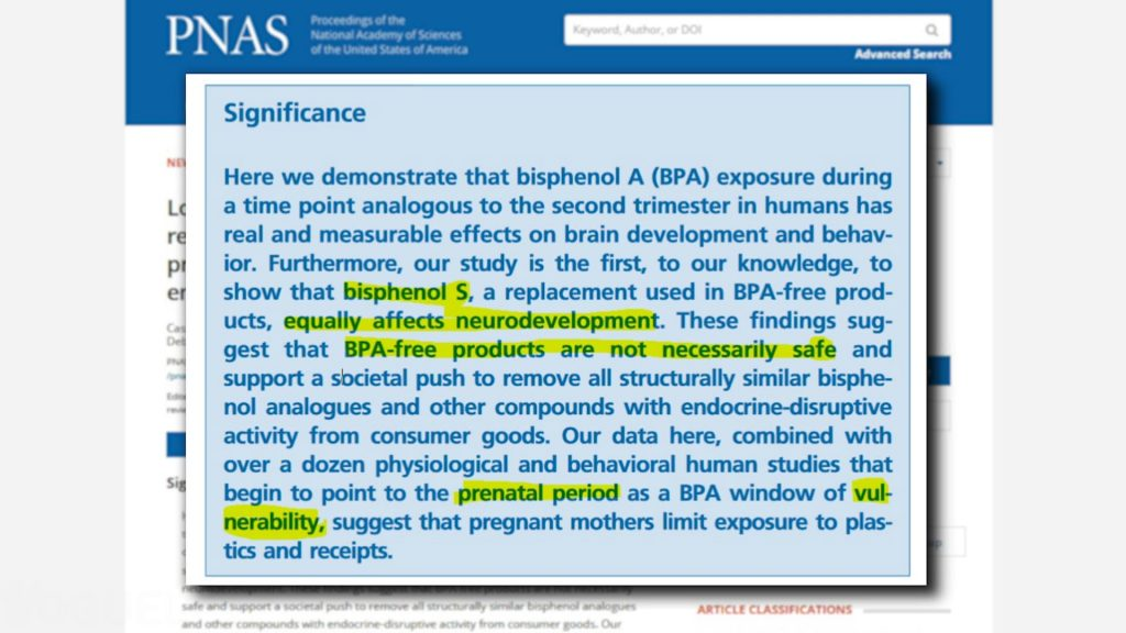 "Yoguely discusses article quote ""... bisphenol S, a replacement used in BPA-free products, equally affects neurodevelopment. These findings suggest that BPA-free products are not necessarily safe..."""