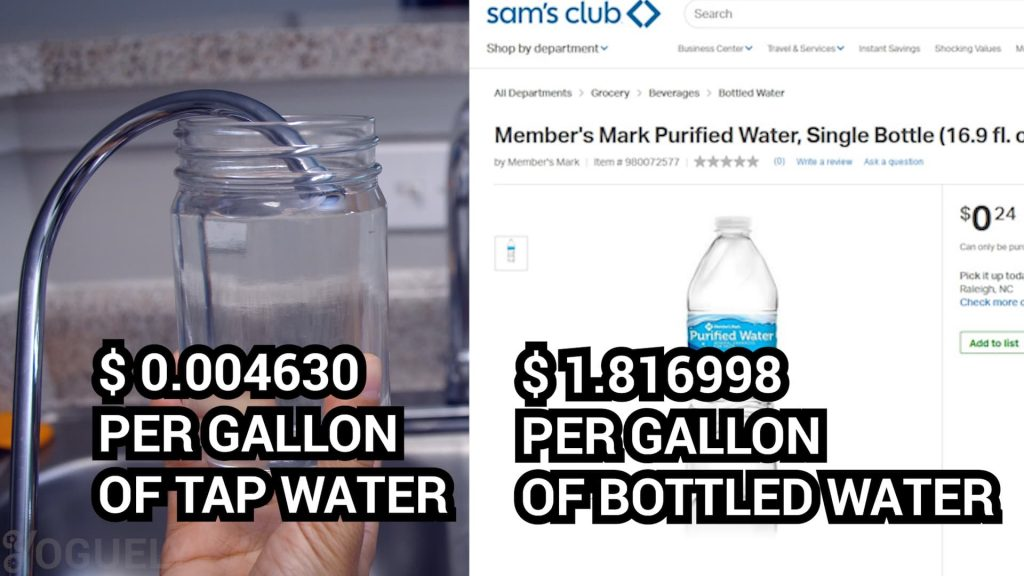 Case study. This yap water cost $0.004630 per gallon. In comparison, this bottled water costs $1.816998 per gallon.