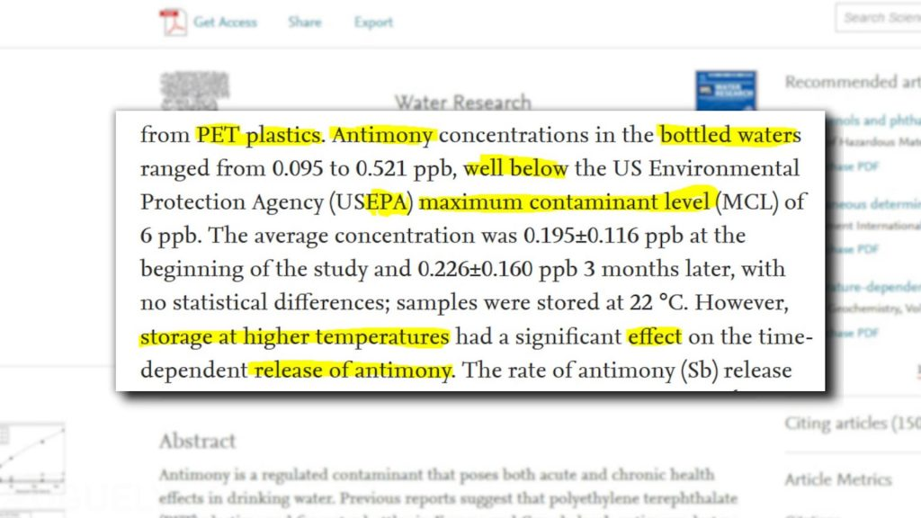 "Yoguely discusses article quote ""Antimony concentrations in the bottled waters ranged ... well below the US environmental Protection Agency (USEPA) maximum contaminant level (MCL) of 6 ppb."""