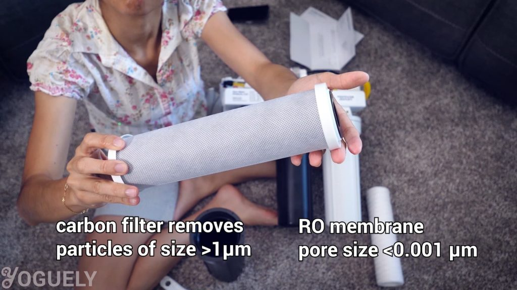Carbon filters can have a nominal pore size of 1 micron. That is 1000 times bigger than a RO membrane. This makes carbon filters a good fit to have as a pre-filter.