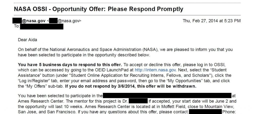 Aida Yoguely offer letter for a NASA internship at Ames Research Center.