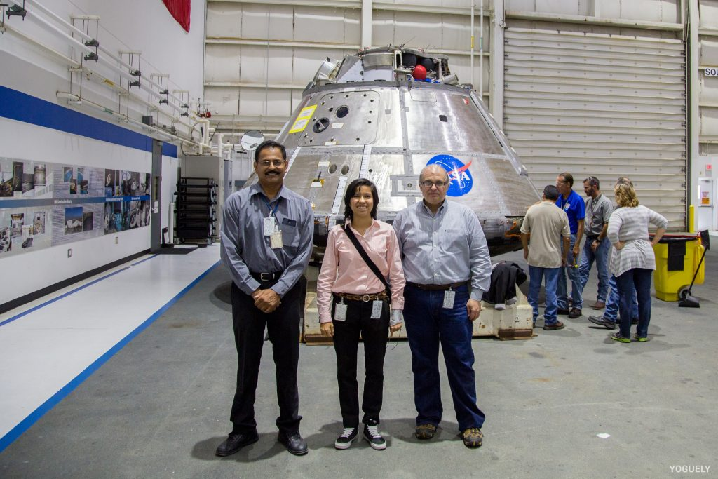 Aida Yoguely working at the NASA Johnson Space Center as a civil servant.