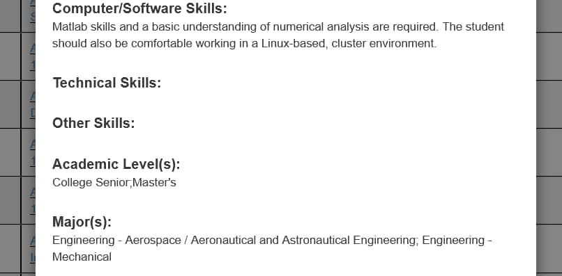 NASA internship listing requirements of: computer/software skills, technical skills, academic levels, and majors.