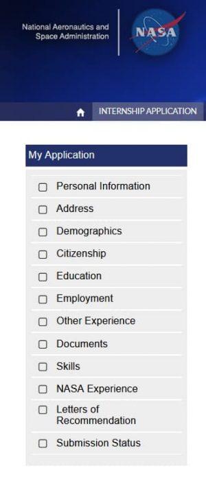 NASA internship application