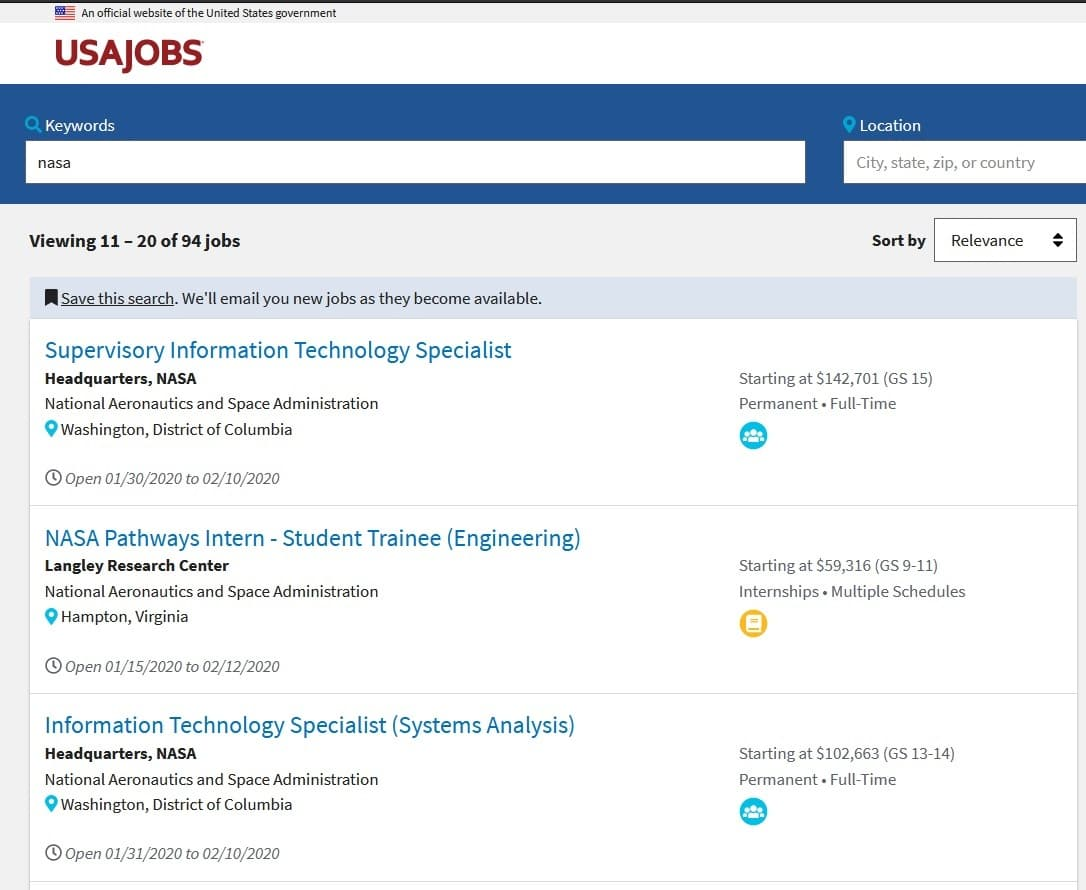 NASA job listings on USAjobs.gov. Including the NASA Pathways program.
