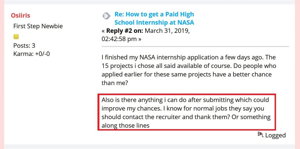 "Question asked on the Yoguely Community Forum: ""Also is there anything I can do after submitting which could improve my chances. I know for normal jobs they say you should contact the recruiter and thank them? Or something along those lines"""