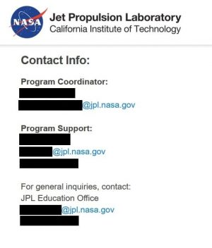 The NASA Jet Propulsion Laboratory's (JPL) site displays the contact info for their internship program coordinator.