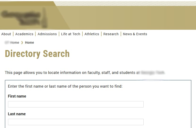 A school directory search for faculty, staff, and students.