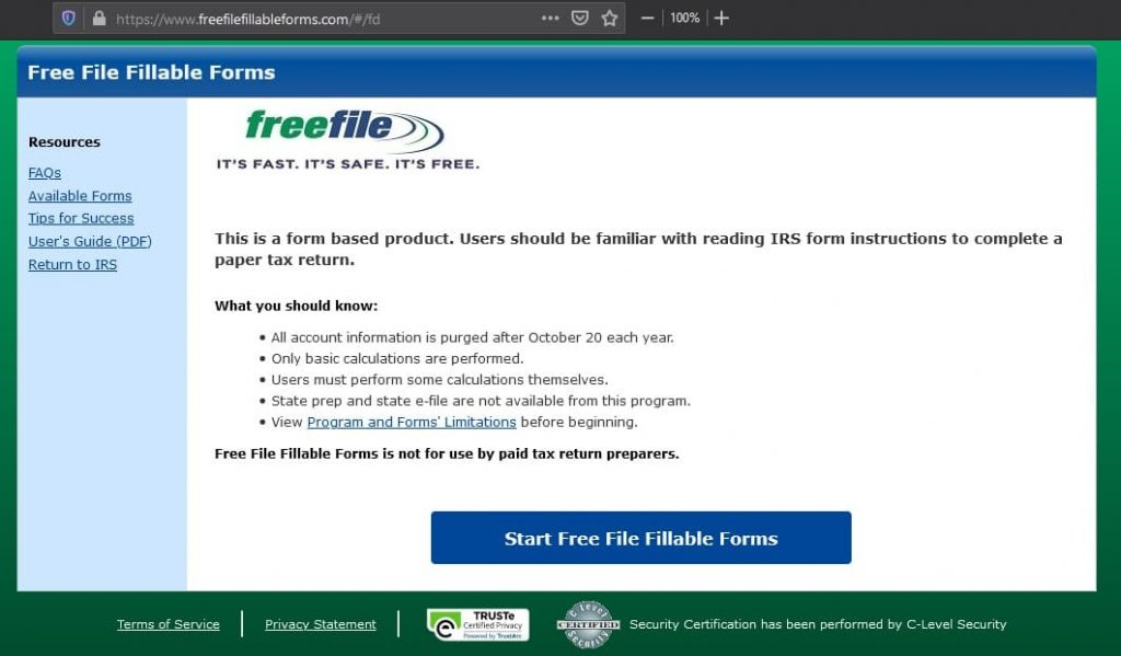 Free File Fillable Forms is the place where you can file your federal taxes for free.
