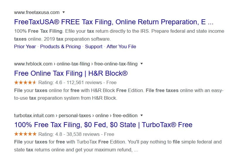 "Misleading ""Free Tax Filing"" search result links are not so free."