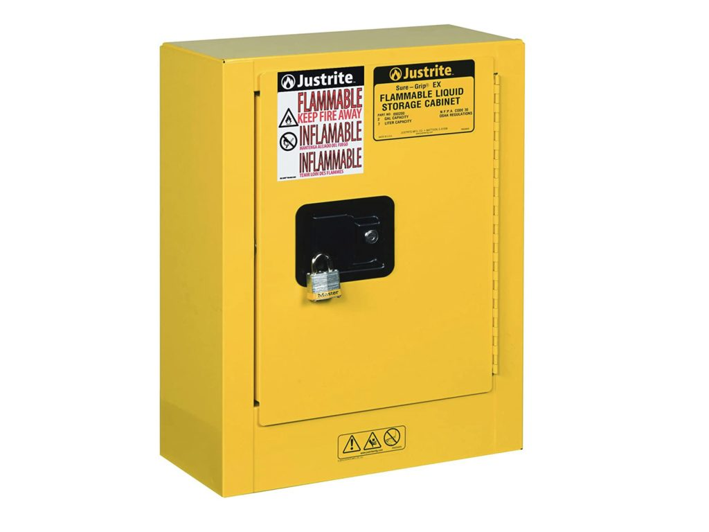 Store alcohol in a fire rated chemical storage cabinet.