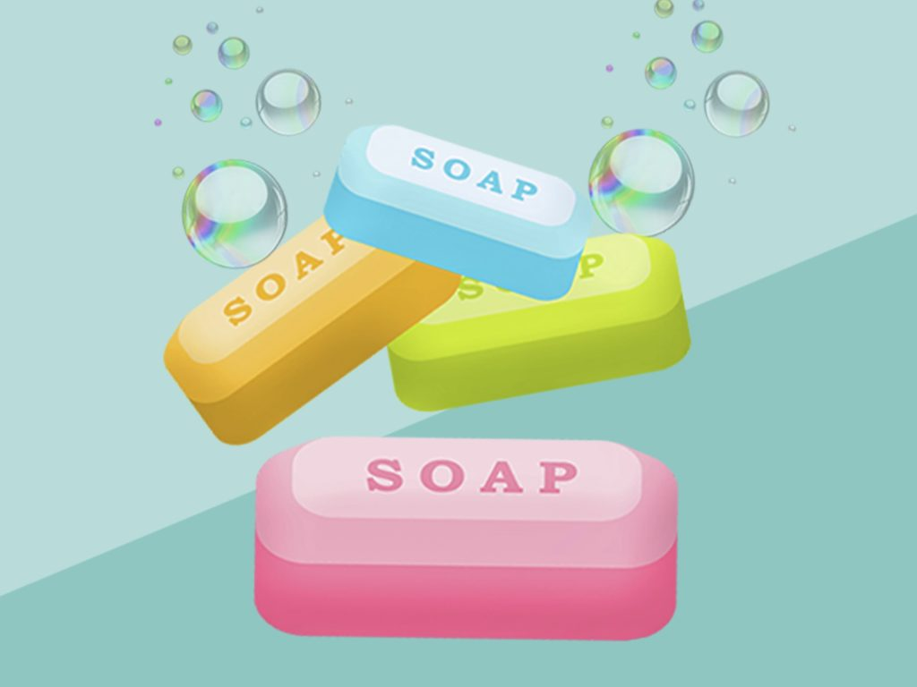 Soap is made by mixing fats and oils with a base.