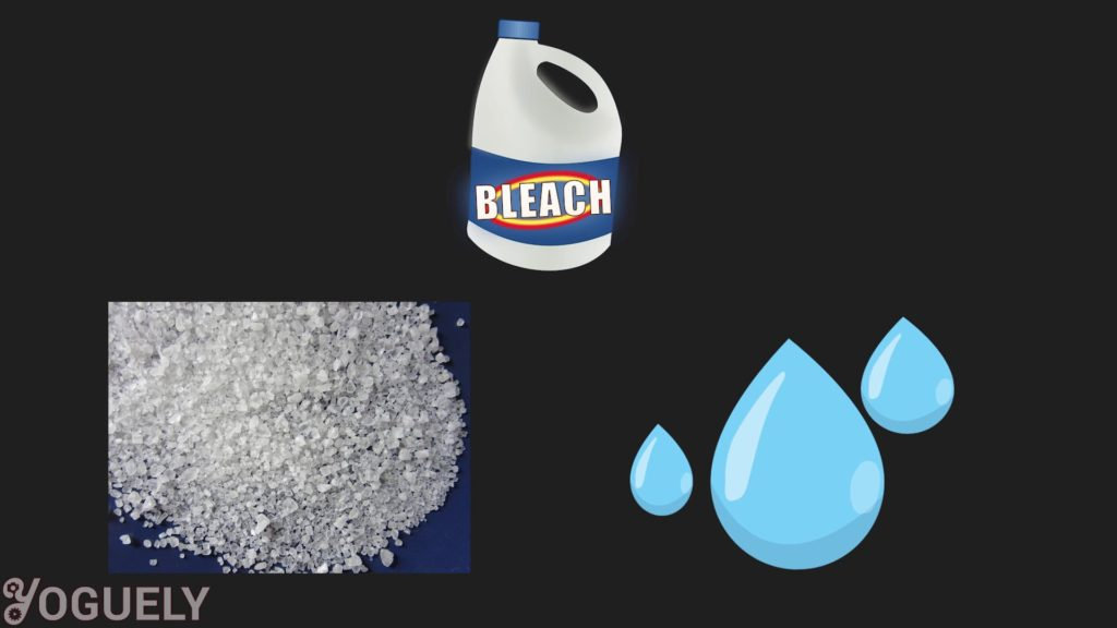 Bleach breaks down into salt and water naturally. This process happens much faster when bleach is exposed to extreme temperatures, light, air, and contaminants.