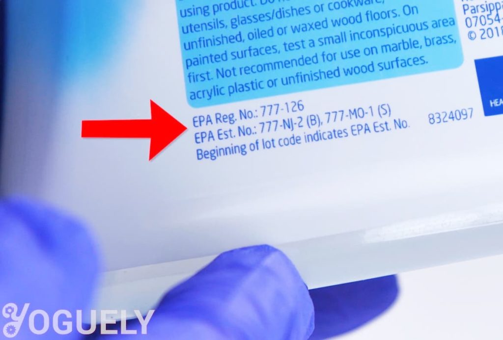 """Yoguely - To pick a good cleaning agent you'll need to check that it can eradicate the specific microbe you are after. You can do this using its Environmental Protection Agency (EPA) registration number. It appears after """"EPA Reg #"""" on the product label."""
