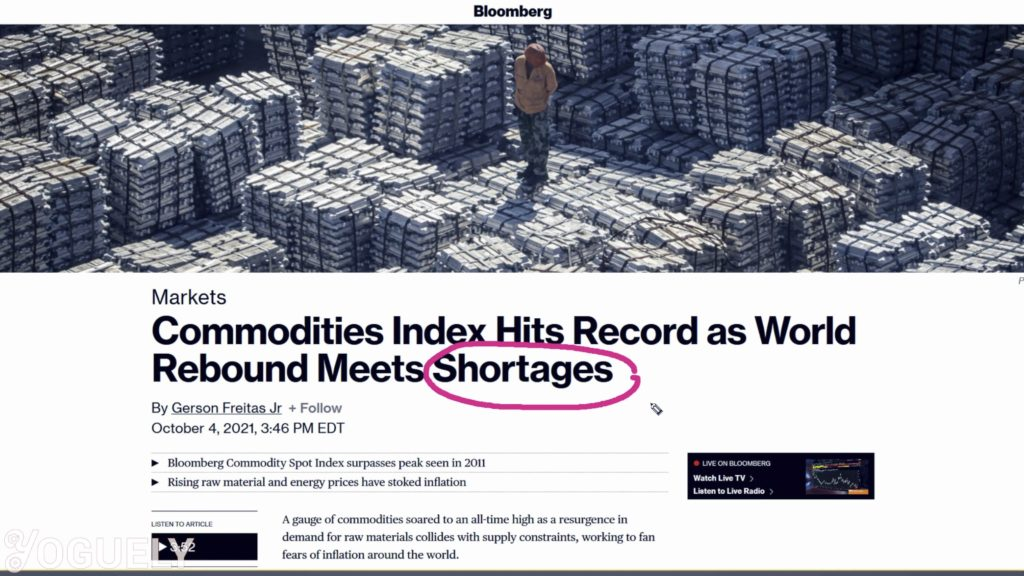 Shortages as Bloomberg Commodities Index hits record high